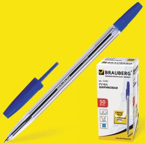 Ручка шариковая BRAUBERG «Line», корпус прозрачный, толщина письма 1,0 мм, синяя