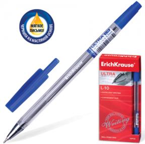 Ручка шариковая масляная ERICH KRAUSE «Ultra L-10», корпус прозрачный, 0,7 мм, синяя