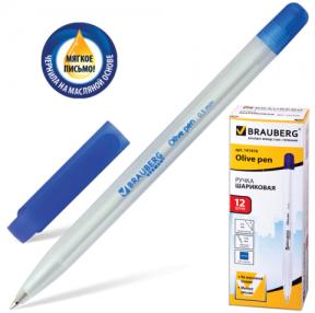 Ручка шариковая масляная BRAUBERG «Olive pen», корпус прозрачный, толщина письма 0,5 мм, синяя