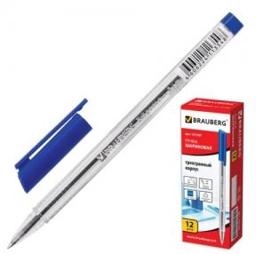 Ручка шариковая BRAUBERG, трехгранная, корпус прозрачный, 1 мм, РОССИЯ, синяя