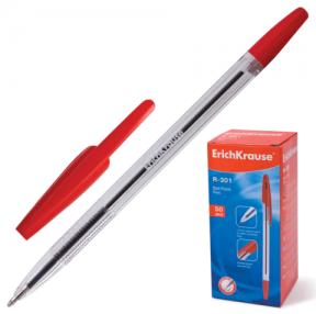 Ручка шариковая ERICH KRAUSE «R-301», корпус прозрачный, толщина письма 1 мм, красная