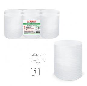 Полотенца бумажные с центральной вытяжкой ЛАЙМА, (Система M2), комп. 6 шт., Классик, 165 м, белые, (126098)