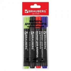 Маркеры для флипчарта BRAUBERG, набор 4 шт., непропитывающие, круглые, 2,5 мм, (черный, синий, красный, зеленый) (151257)