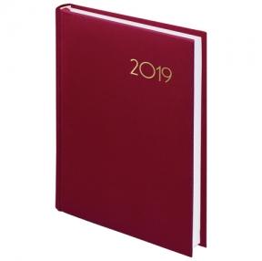 Ежедневник датированный 2019, А5, BRAUBERG «Select», кожа классик, КРАСНЫЙ, 138×213 мм (129097)