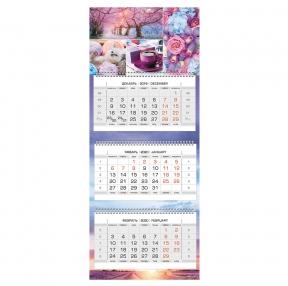 Календарь квартальный 2020 г, «Люкс», 3 блока на 3-х гребнях, Multicolor, HATBER (111163)
