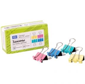 Зажимы для бумаг 15мм, OfficeSpace, 12шт., цветные, картонная коробка (257951)