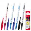Ручки шариковые BRAUBERG, набор 4 шт., офисная, корпус белый, толщина письма 1 мм, европодвес, 2 синих, черная, красная