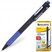 Ручка шариковая BRAUBERG «Doc»автоматическая, корпус черный, толщина письма 0,7 мм, резиновый держатель, синяя