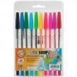 Ручки шариковые BEIFA , набор 10 шт., «WMZ», корпус прозрачный, цветные детали, 0,5 мм