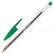 Ручка шариковая BIC «Cristal», ЗЕЛЕНАЯ, корпус прозрачный, узел 1 мм, линия письма 0,32 мм (142154)