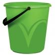 Ведро 10 л, без крышки, пластиковое, пищевое, с глянцевым узором, цвет зеленый, мерная шкала, ЛАЙМА (603893)