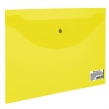 Папка-конверт с кнопкой BRAUBERG А5 240*190мм, прозрачная , желтая, 0,15мм (224028)