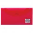 Папка-конверт с кнопкой BRAUBERG 250*135мм, д/билетов и документов, прозр, красная, 0,15мм