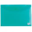 Папка-конверт с кнопкой BRAUBERG А3, прозрачная , зеленая, 0,18мм