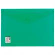 Папка-конверт с кнопкой BRAUBERG А4, прозрачная, ПЛОТНАЯ, зеленая, до 100 листов, 0,18мм