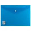 Папка-конверт с кнопкой BRAUBERG А4, прозрачная, ПЛОТНАЯ, синяя, до 100 листов, 0,18мм