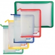 Папка на молнии пластиковая BRAUBERG Диагональ, А4, 325×230 мм, прозрачная, молния ассорти (224052)