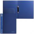 Папка на 2 кольцах BRAUBERG , диагональ, 25 мм, темно-синяя, до 170 листов, 0,8 мм