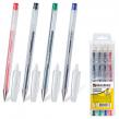 Ручки гелевые BRAUBERG «Jet», набор 4 шт., корпус прозрачный, 0,5 мм (синяя, черная, красная, зеленая)