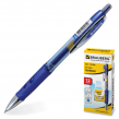 Ручка гелевая BRAUBERG «Officer»  автоматическая, корпус прозрачный, синие вставки, толщ. письма 0,5 мм, синяя
