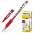 Ручка гелевая BRAUBERG «Number One» , корпус прозрачный, 0,5 мм, резиновый держатель, красная