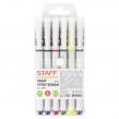 Ручки гелевые с грипом STAFF Manager, набор 6 шт., ассорти, корпус белый, узел 0,5 мм, линия письма 0,35 мм (142807)