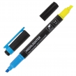 Текстовыделитель двусторонний BRAUBERG, Желтый/Голубой, линия 1-4 мм (150842)