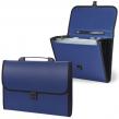 Портфель пластиковый STAFF эконом, 6 отделений, с окантовкой, синий
