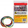Резинки для денег BRAUBERG (натур. каучук!) цветные, 1000 г, 1800шт