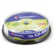 Диск CD-RW VERBATIM, 700 Mb, 12х, 10 шт., Cake Box