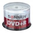 Диски DVD + R (плюс) SONNEN 4,7 Gb 16x Cake Box, Комп.50 шт. (512577)