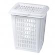 Корзина 50 л, с крышкой, для мусора/белья, прямоугольная, пластик, 56×45×36 см, белая (601120)