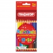 Карандаши двухцветные ПИФАГОР, 12 штук, 24 цвета, заточенные