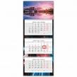 Календарь квартальный с бегунком, 2021 год, 3-х блочный, 3 гребня, ЛЮКС, Ночной город (112237)