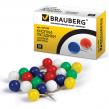Силовые кнопки-гвоздики BRAUBERG  цветные (шарики), 50 шт., в карт. коробке