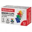 Зажимы для бумаг BRAUBERG, КОМПЛЕКТ 12шт., 15мм, на 45л., цветные, в карт.коробке (224469)