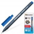 Ручка капиллярная BRAUBERG «Carbon», супертонкий металлический наконечник 0,4 мм, трехгранный корпус, синяя