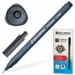 Ручка капиллярная BRAUBERG «Carbon», супертонкий металлический наконечник 0,4 мм, трехгранный корпус, черная