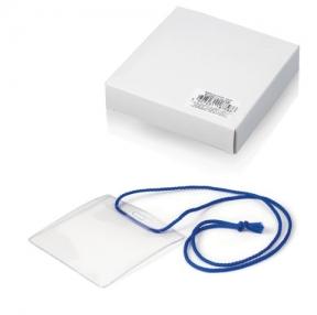 Бейджи, комплект 10 шт., ПВХ, 105×93 мм, горизонтальные, на синем шнурке 44 см