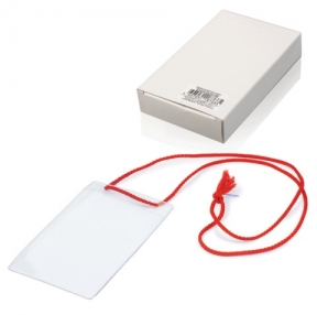 Бейджи, комплект 10 шт., ПВХ, 123×79 мм, вертикальные, на красном шнурке 44 см