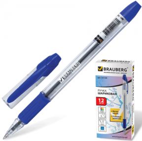 Ручка шариковая BRAUBERG «Samurai» , корпус прозрачный, толщина письма 0,7 мм, резиновый держатель, синяя