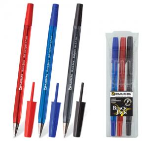 Ручки шариковые BRAUBERG, набор 3 шт., «Black Jack», 0,7 мм, упаковка с подвесом