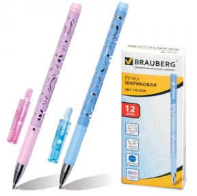 Ручка шариковая BRAUBERG узоры, корпус с декоративной печатью, толщина письма 0,7 мм, синяя