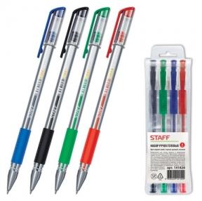 Ручки гелевые STAFF, набор 4 шт., резиновый держатель