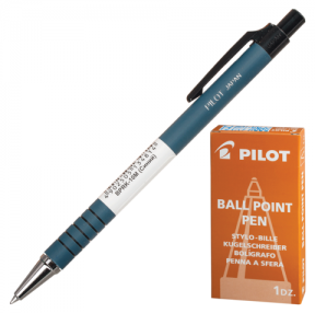 Ручка шариковая PILOT автоматическая, BPRK-10M, корпус синий, прорезиненный, толщина письма 0,32 мм, синяя