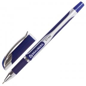 Ручка шариковая масляная с грипом BRAUBERG Sigma Plus, печать, узел 0,7 мм, линия письма 0,35 мм, Синяя (142689)