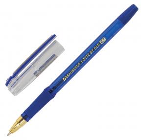 Ручка шариковая масляная с грипом BRAUBERG «i-Rite GT GLD», СИНЯЯ, корпус тонированный синий, узел 0,7 мм (143302)