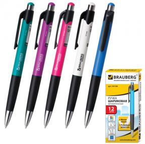 Ручка шариковая BRAUBERG «Concept» автоматическая, корпус ассорти, толщина письма 0,7 мм, резин. держ., синяя