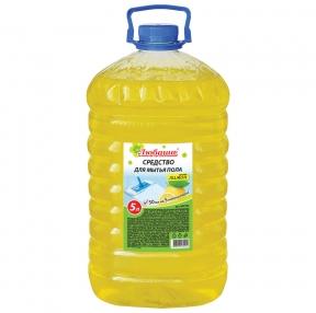 Средство для мытья пола 5 л, ЛЮБАША, Лимон, ПЭТ (604792)