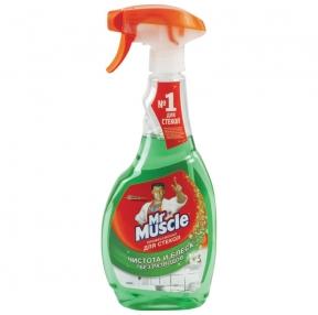 Средство для мытья стекол и зеркал 500 мл, МИСТЕР МУСКУЛ, Утренняя роса, распылитель (600330)